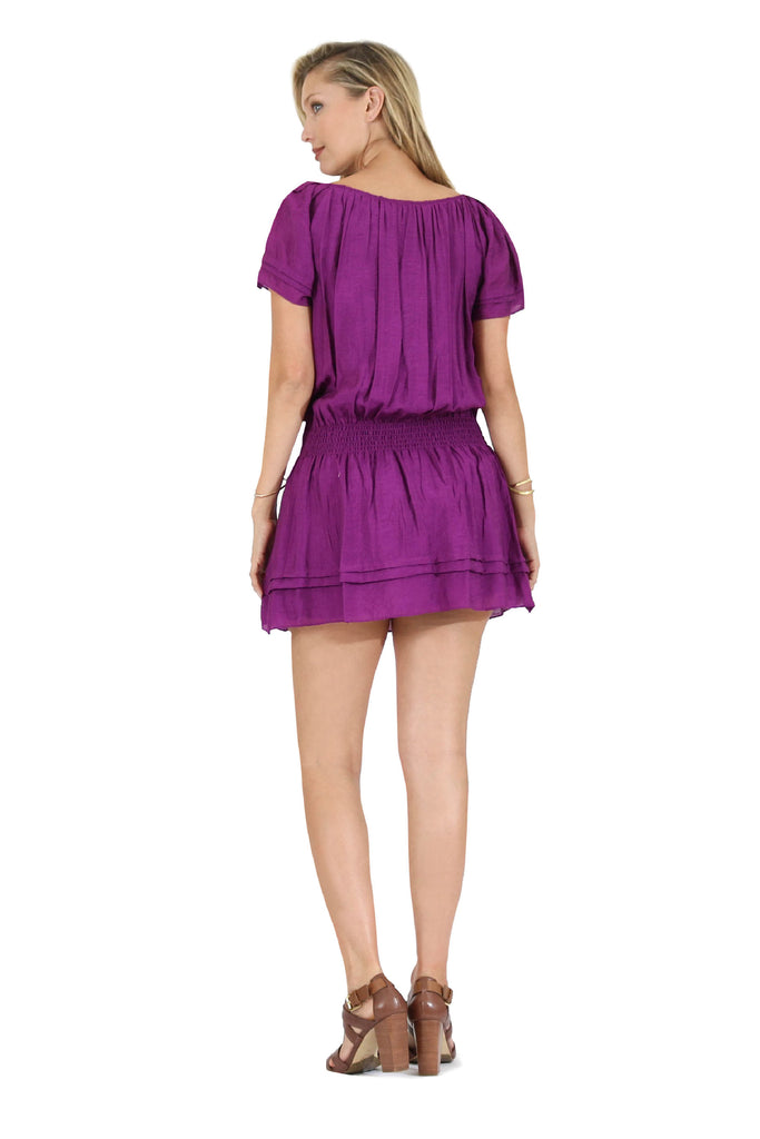 Rachel Ruffled Pleated Sleeve Tunic Dress