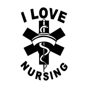 I Love Nursing Car Sticker