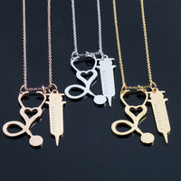 Nurse Stethoscope Syringe Necklaces