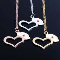 Rose Gold/Gold/Silver Red Enamel Nurse Hat Prayer Cross Heart Necklace