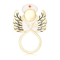 Gold Stethoscope Angel Nurse Eyeglass Brooch