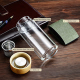 My Water Bottle Tea Infuser Glass Tumbler Stainless Steel