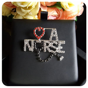 "New Design of Handmade Rhinestone Brooch Jewelry ""Love A NURSE"" Word Lapel Pin"