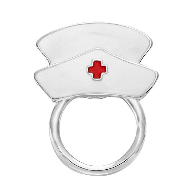 White Enamel Nurse Eyeglass Holder Pin
