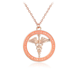 Nurse necklace Metal Rose gold Silver Prayer Scepter Angel wings