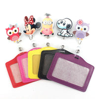 Pretty Cartoon owl ID Name Card Badge Holder