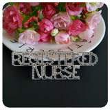 "Professions Theme Crystal Lapel Pin ""REGISTERED NURSE"" Word Brooch Gift"