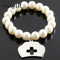Silver Gold For Nurse Pearl Bracelet Top Quality Stainless Steel Cross Bracelet