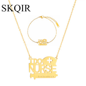 SKQIR Gold/Silver Color Stainless Steel Necklaces Sets For Nurse Doctor
