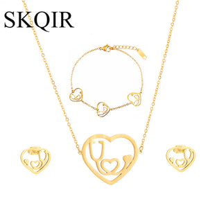 Stethoscope Jewelry Sets Gold/Silver Stainless Steel Heart Necklace Bracelet Earrings