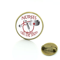 Nurse Glass Dome Metal Badge Brooches