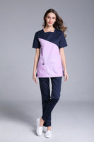 Short Sleeve Shoulder U Shape Neck Scrub Sets Uniforms
