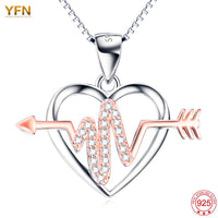 Sterling Silver Rose Crystal Arrow Through Heart Necklace for Nurses High quality