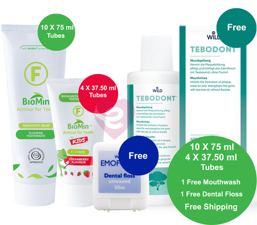 BioMin F Family Pack + Free Shipping + Free TEBODONT® Mouthwash + Free Emoform Dental Floss - HealthPulze