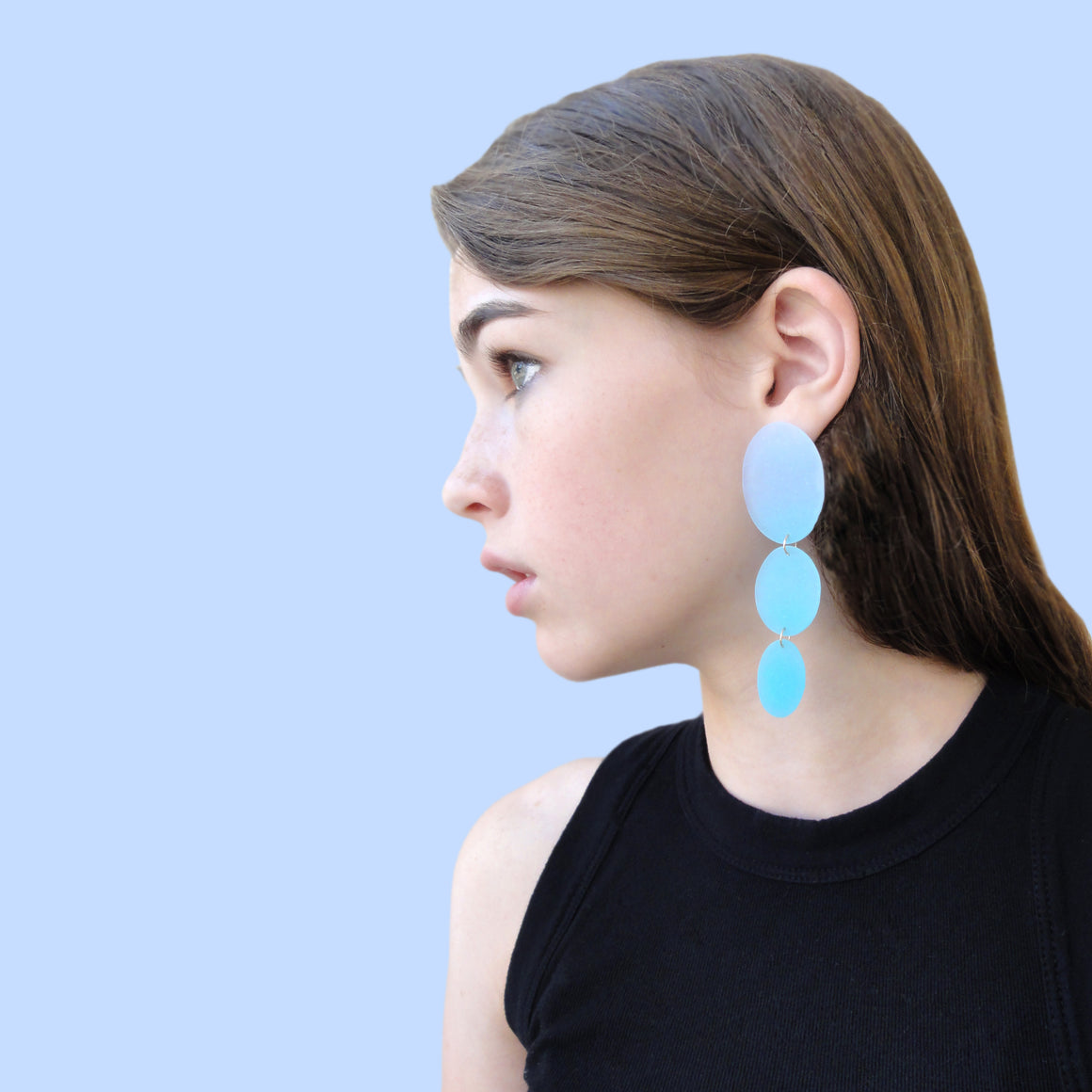 Three Drop Earring: Periwinkle-Aqua