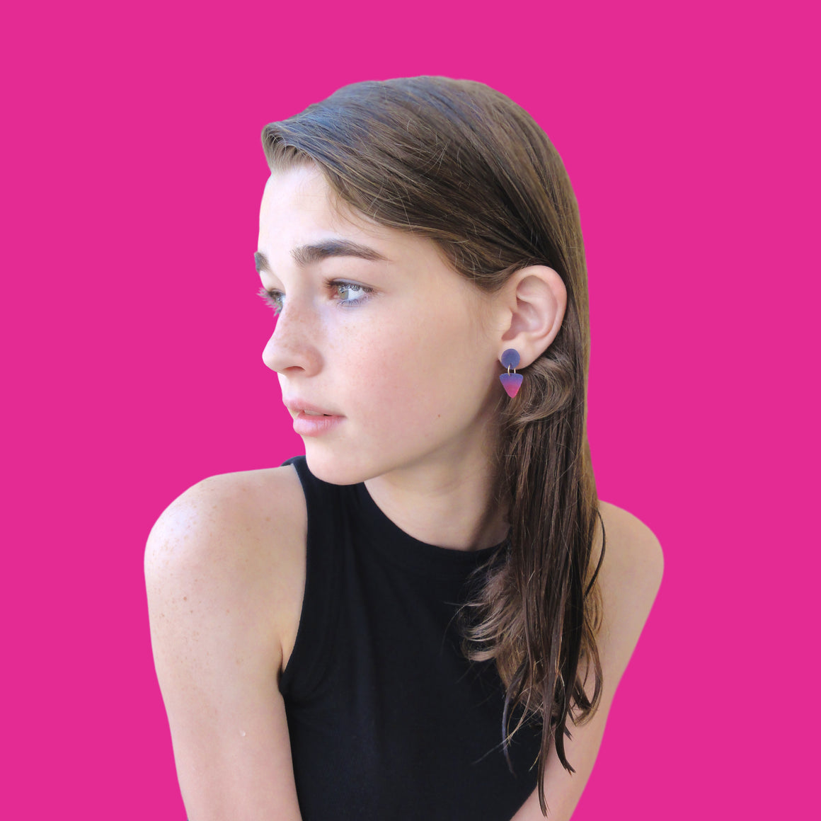 Small Circle Tri Drop Earrings: Hot Pink - Blush