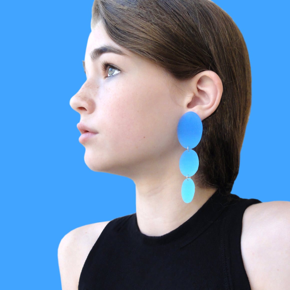 Three Drop Earring: Blue-Grey