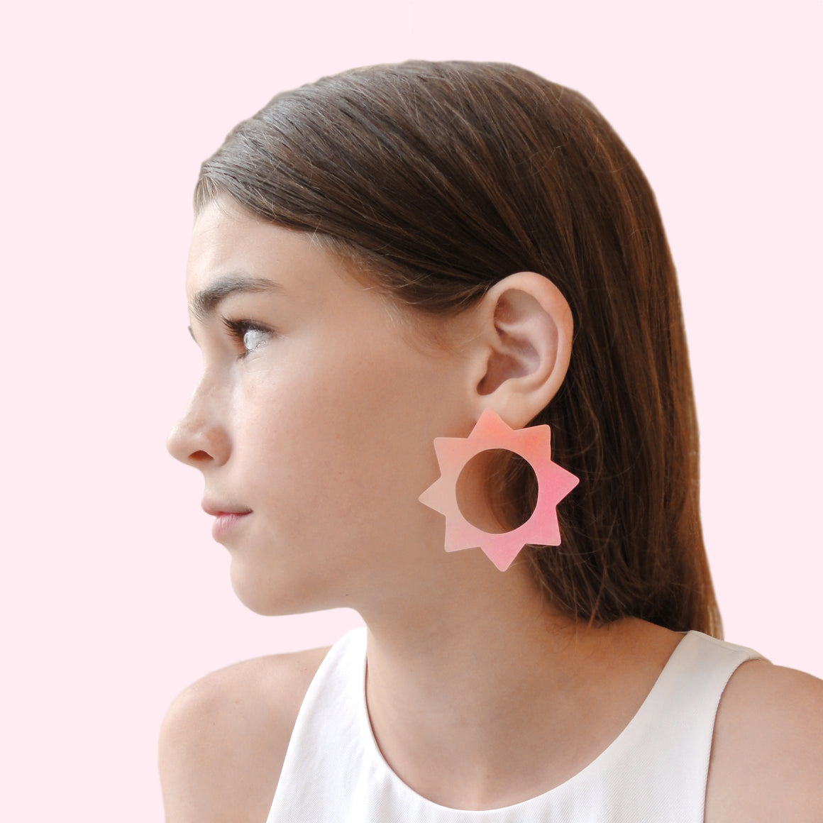 Large Soleil Earrings: Pink-Melon-Nude