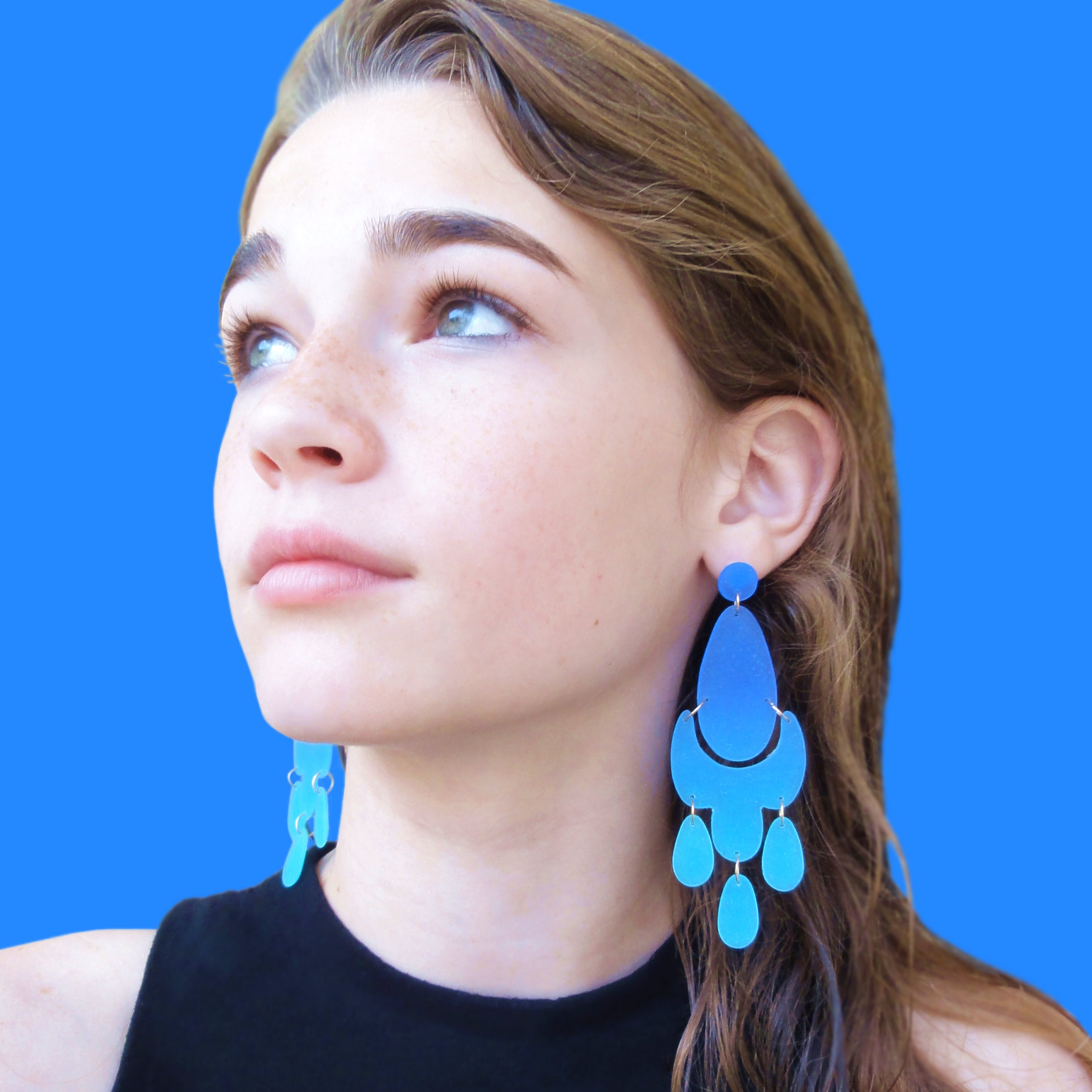 Small soleil earrings aqua ice sky blue shannon carney lab large chandelier earrings royal blue dark turquoise mozeypictures Image collections