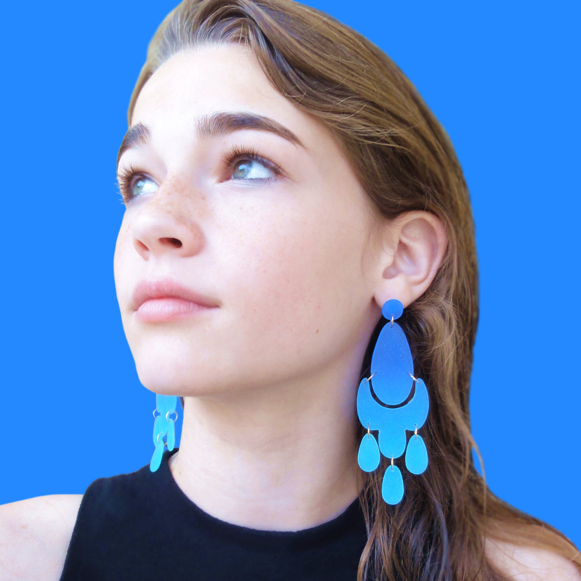 Large Chandelier Earrings: Royal Blue-Dark Turquoise