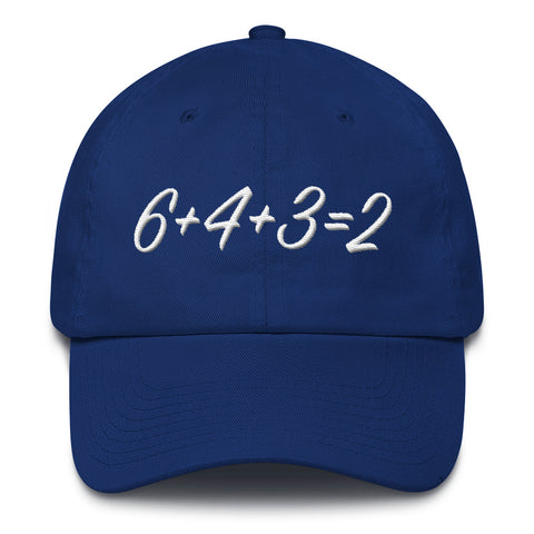6=+4+3=2, Simple math... baseball style – Cotton Cap