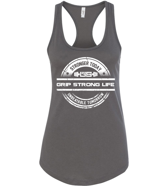 Grip Strong Life - Women's Dark Grey Racerback Tank Top