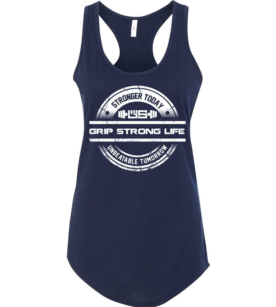 Grip Strong Life - Women's Midnight Navy Racerback Tank Top