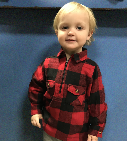 Kids Flannel Shirt 1/4 Zip