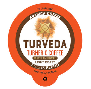 "Turmeric Coffee ""Focus Blend"" (Single Serve Recyclable Pods 12 ct.) - PRE ORDER"
