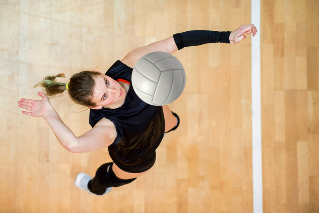female volleyball player service
