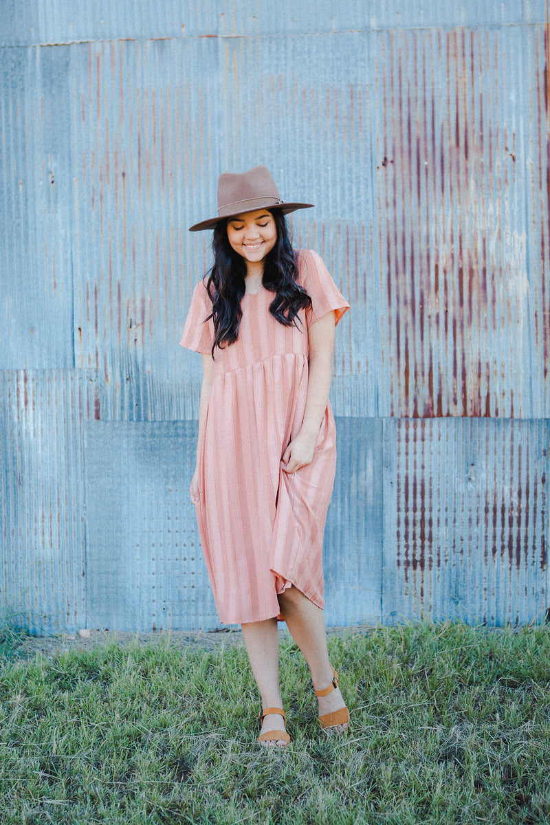Laurie Striped Dress in Dusty Peach