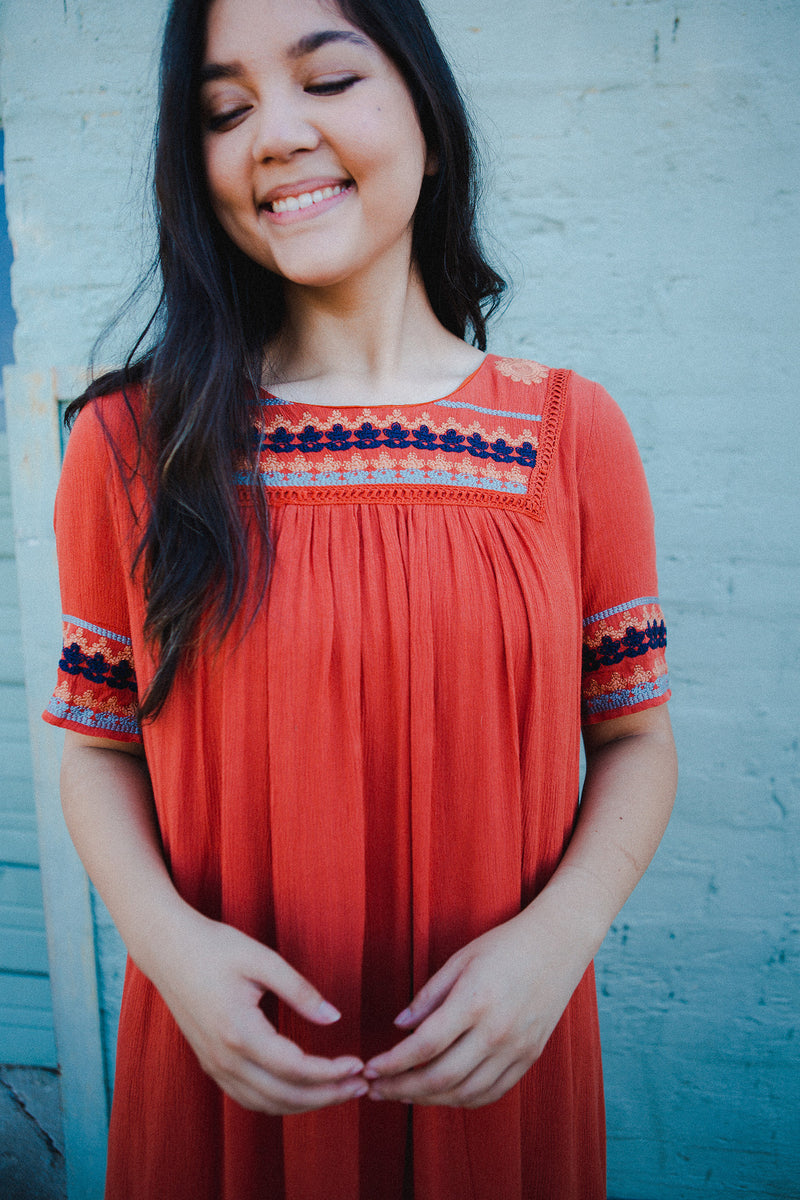 The Medina Dress in Coral Red