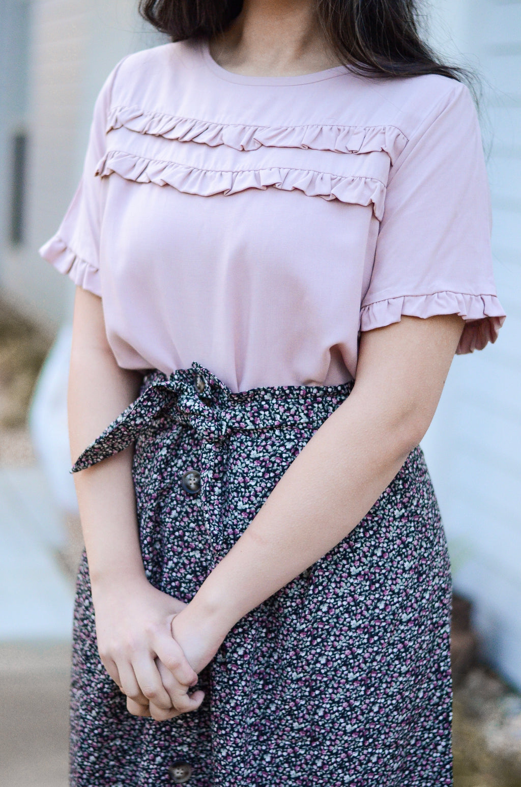 The Mae Ruffle Top in Blush