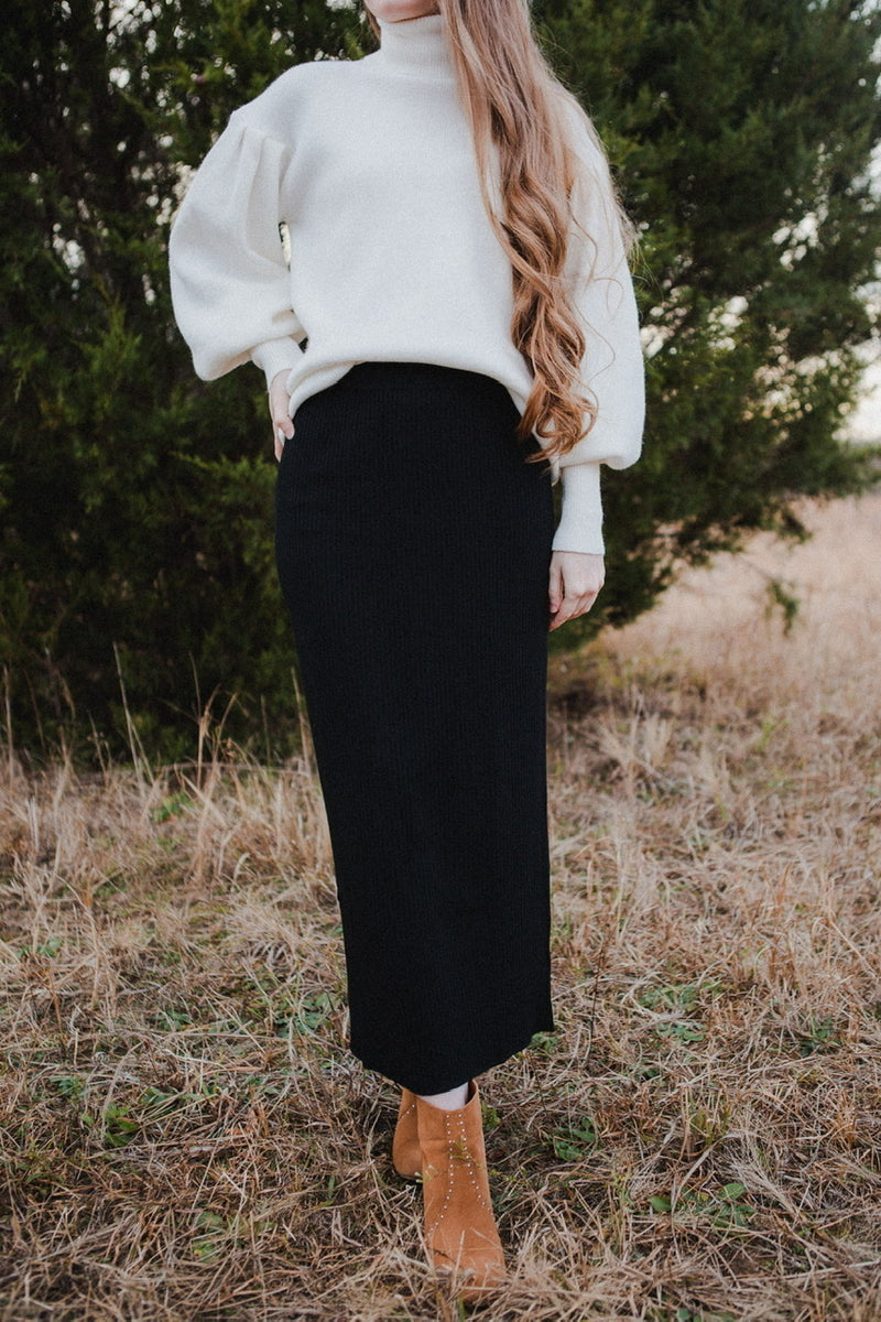 Amelia Knit Midi Skirt in Black