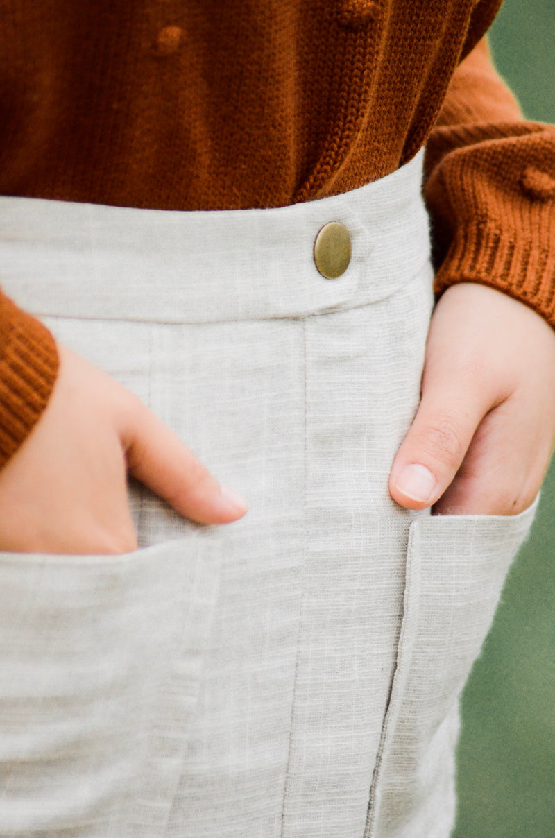 The Clover Woven Skirt in Oatmeal