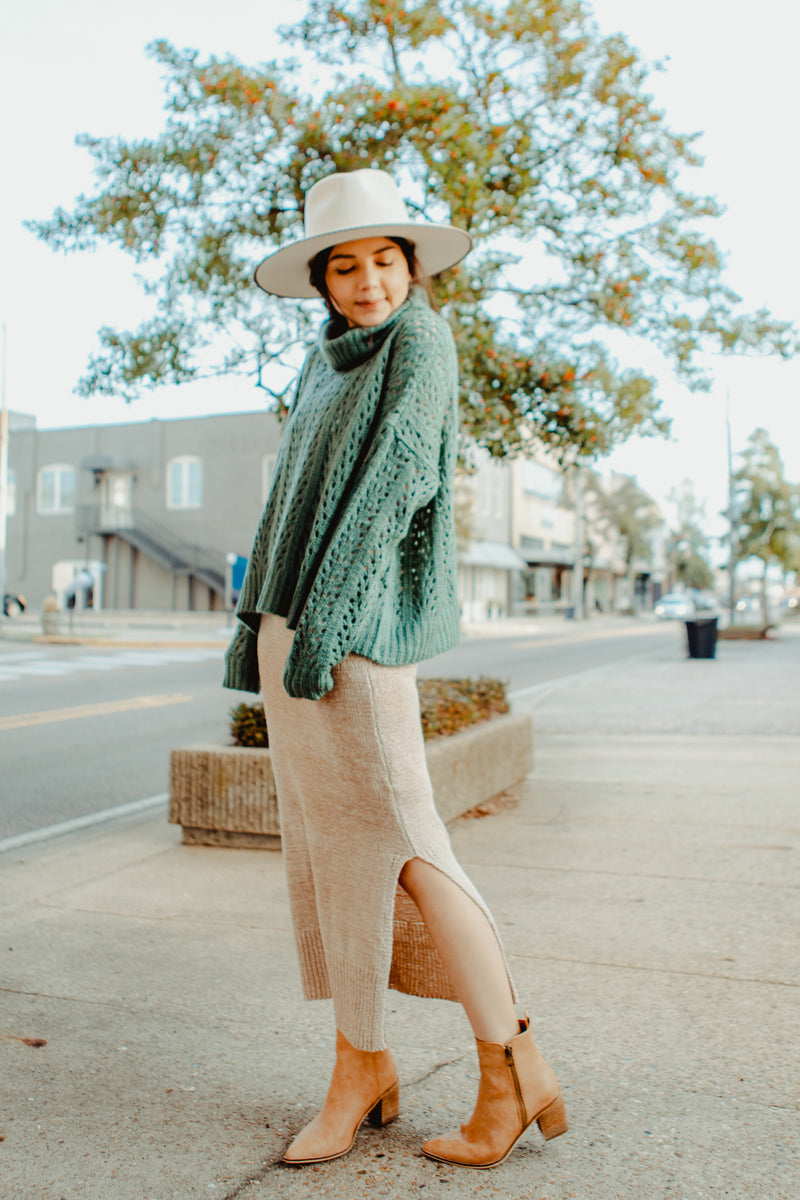 Pomelo Knit Skirt in Dusty Blush