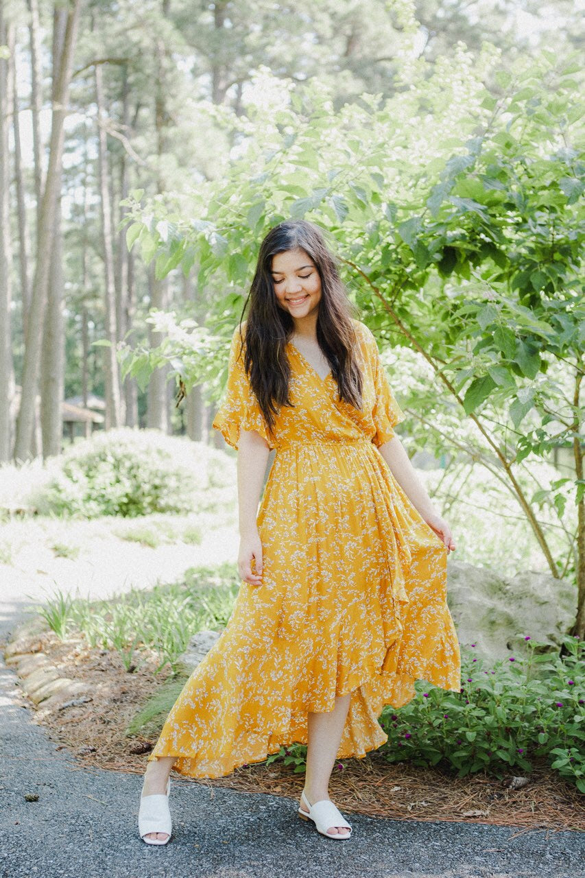 The Clara High-Low Dress in Mustard