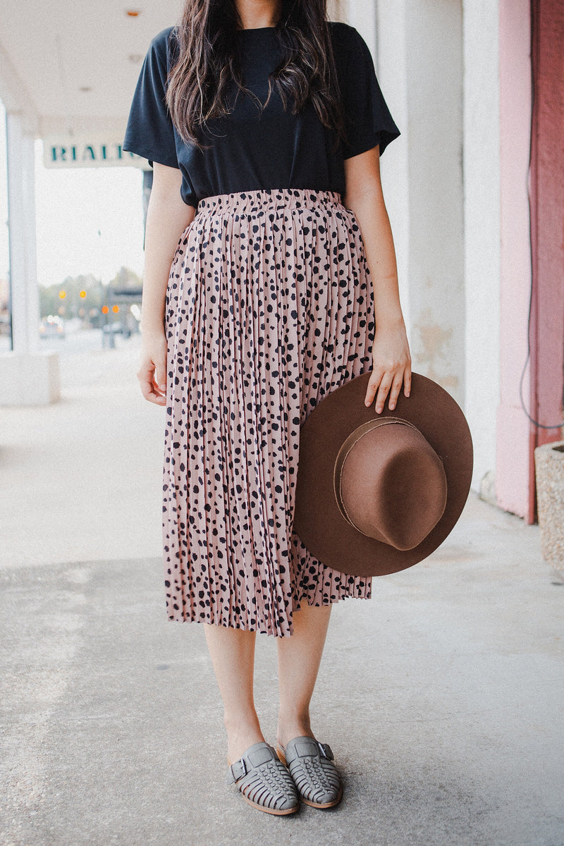 Arabella Pleated Skirt in Mauve