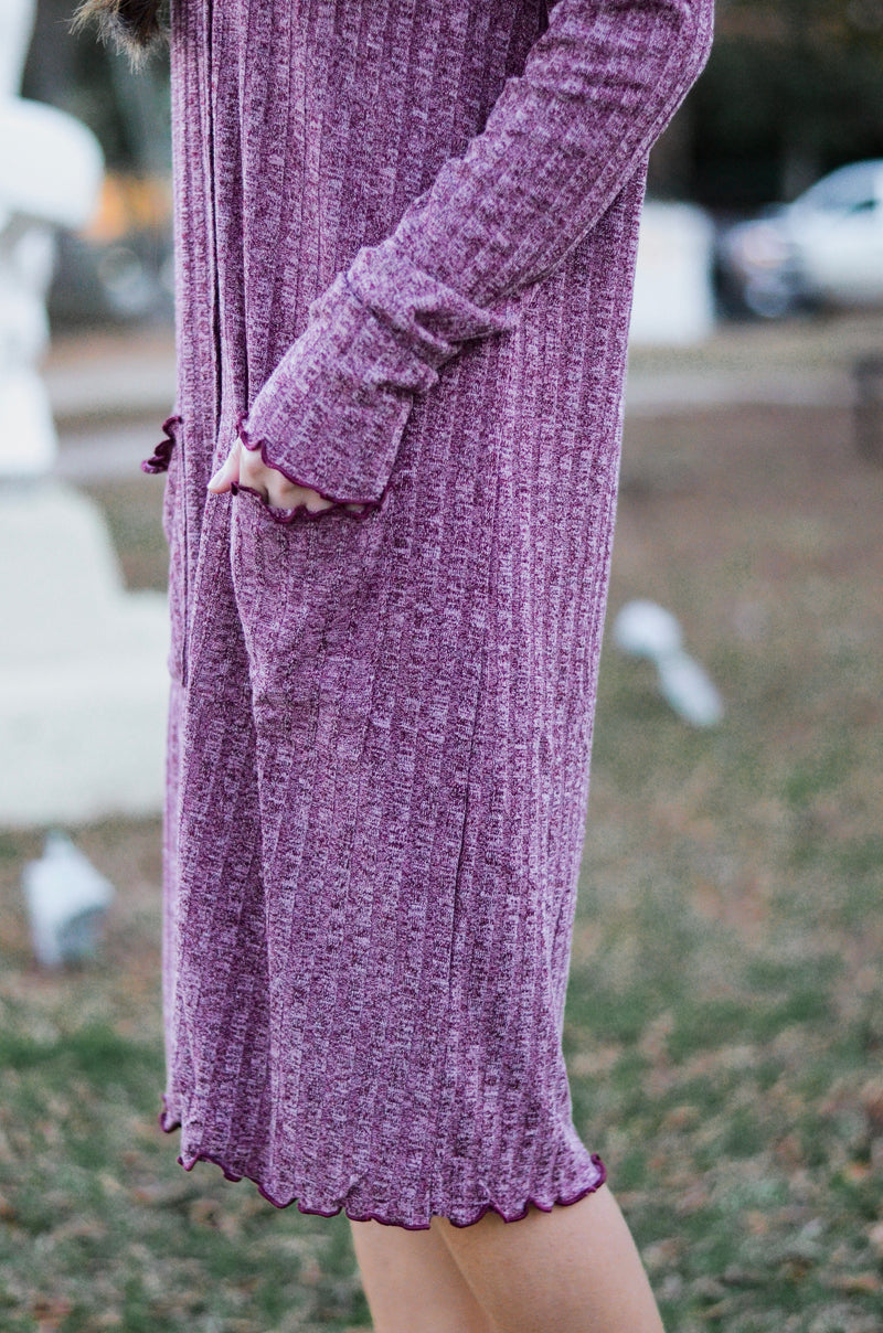 The Rover Cardigan Dress in Plum