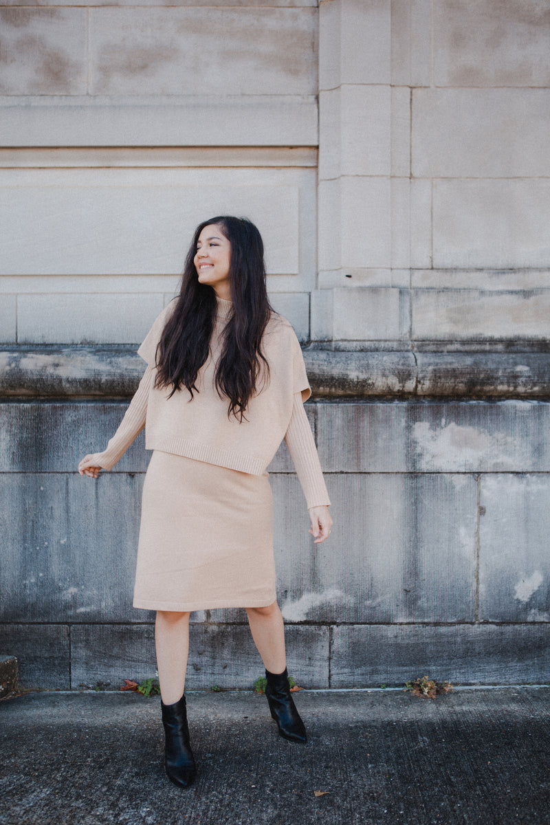 Elaina Silk Dress in Dusty Camel
