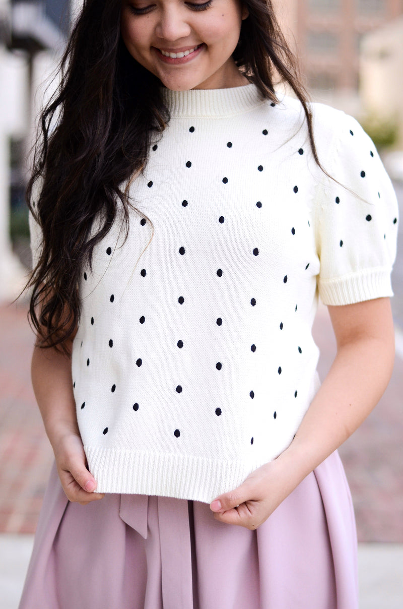 The Nancy Polka Dot Sweater Top