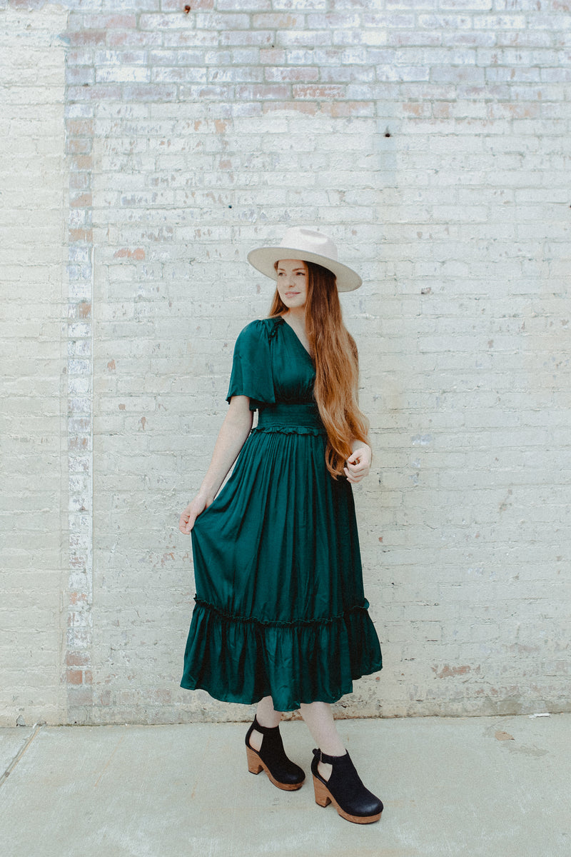 Elaina Silk Dress in Forest Green