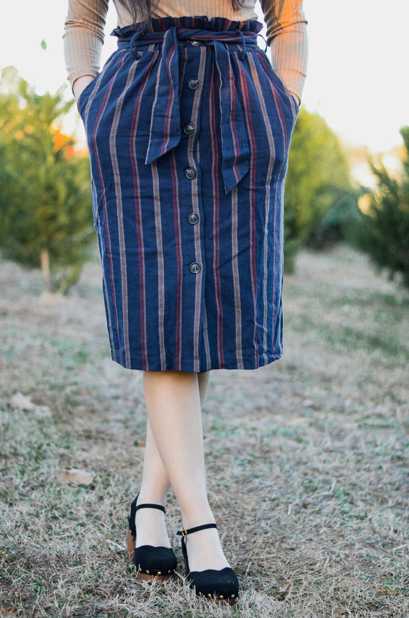 The Lena Striped Button Skirt