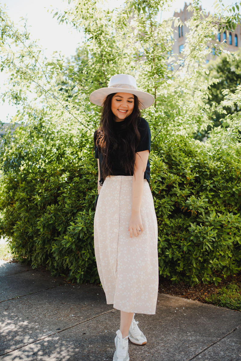 Keller Suede Skirt in Milk Tea
