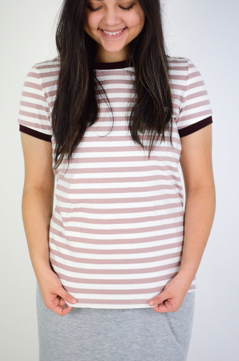 The Addison Striped Tee in Mauve