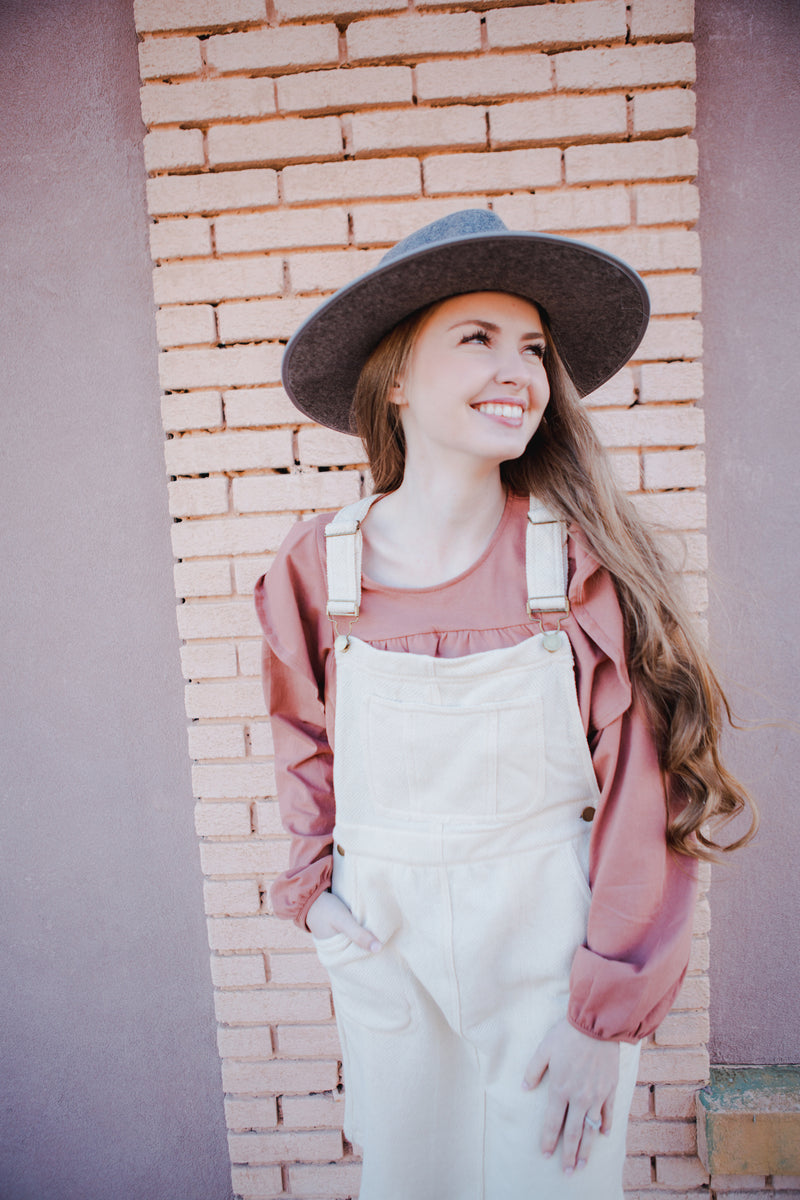 Carson Overall Dress in Oatmeal