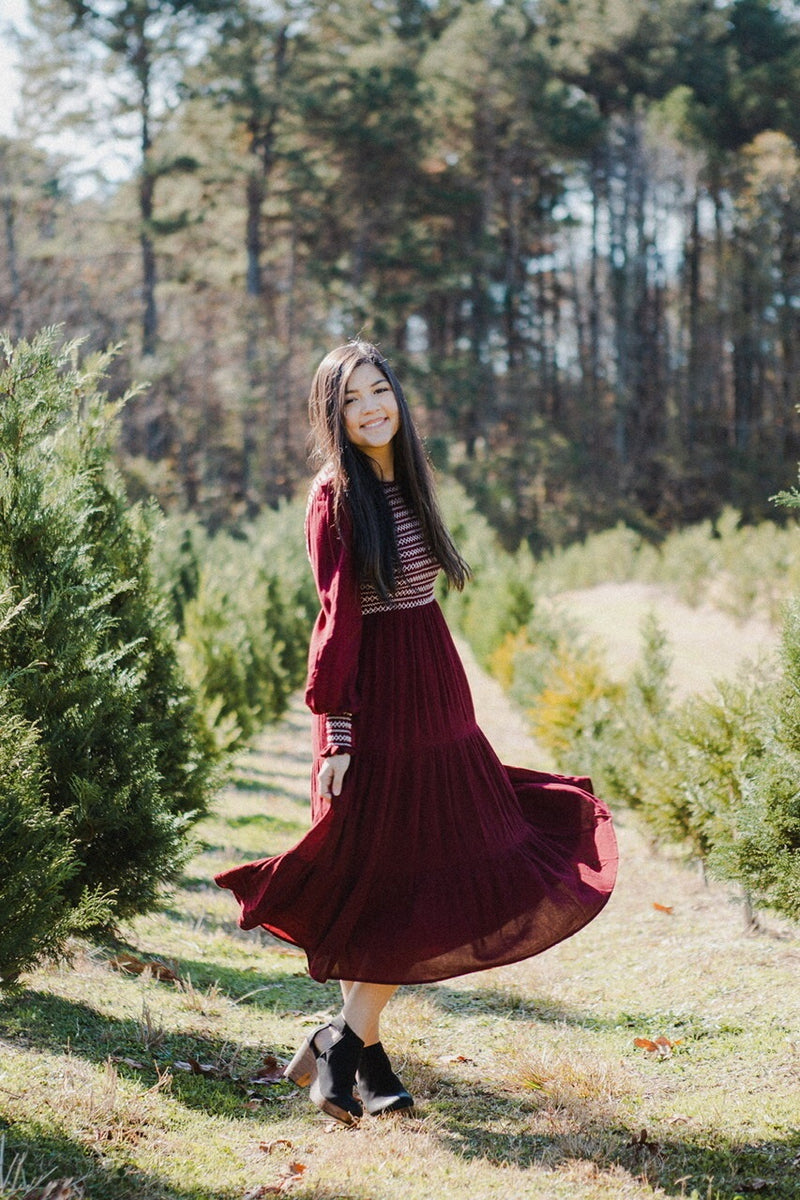Andrea Smocked Dress in Burgundy
