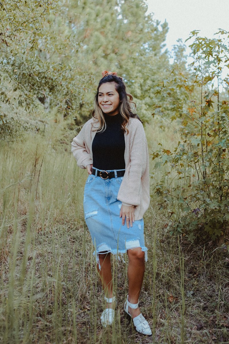 *RESTOCKED* Venice Distressed Denim Skirt