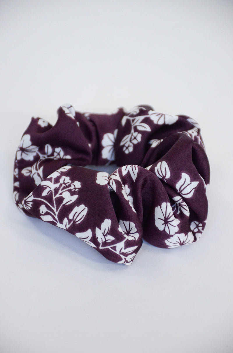 The Ember Floral Scrunchie in Eggplant