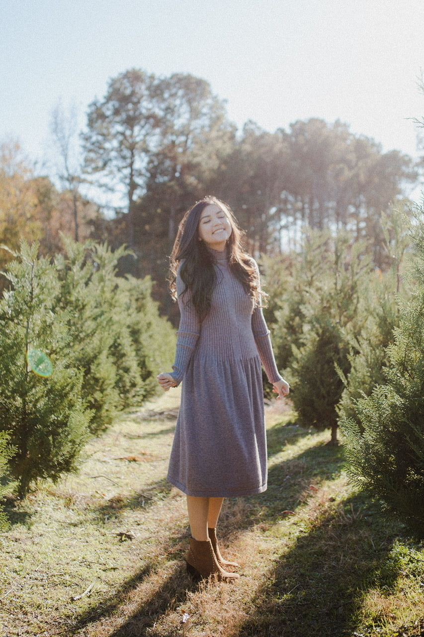 Timberland Sweater Dress in Dark Lavender